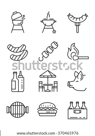 vector black flat bbq icons on white - stock vector