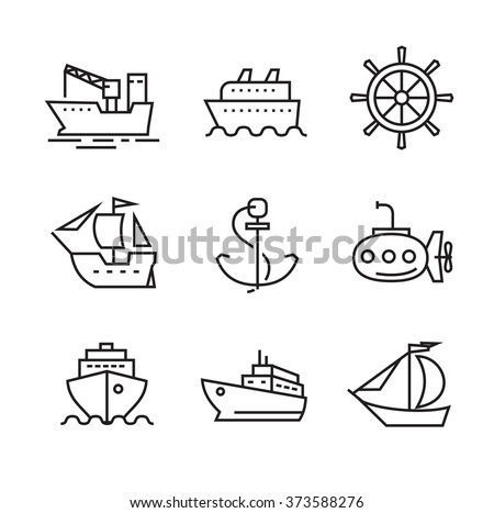 vector black flat boat and ship icons on white
