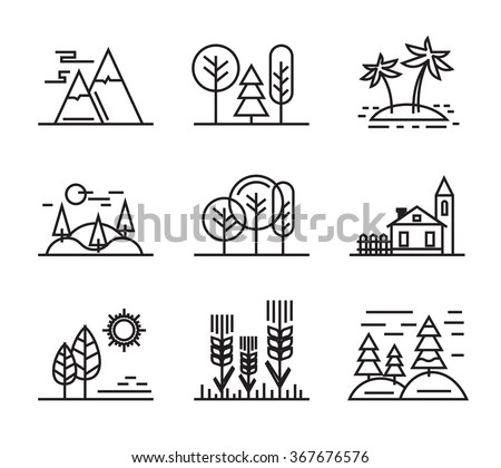 vector black flat nature icons on white - stock vector