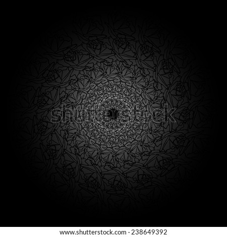 Vector black floral background - stock vector