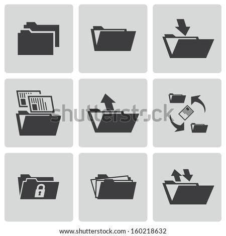 Vector black folder icons set - stock vector