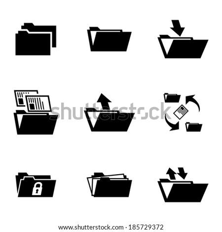 Vector black folder icons set on white background - stock vector