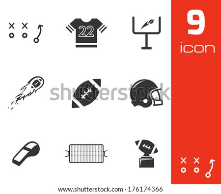 Vector black football icons set on white background - stock vector