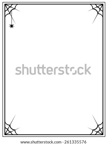 vector black frame with spider web on a white background - stock vector