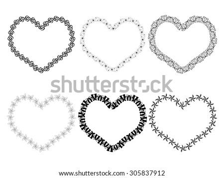 Vector black frames in shape of heart on white background. - stock vector