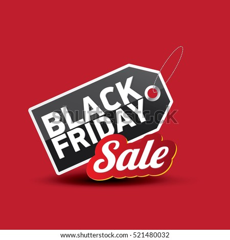 vector Black Friday sales tag or label isolated on red background. Black Friday sale poster or vector background