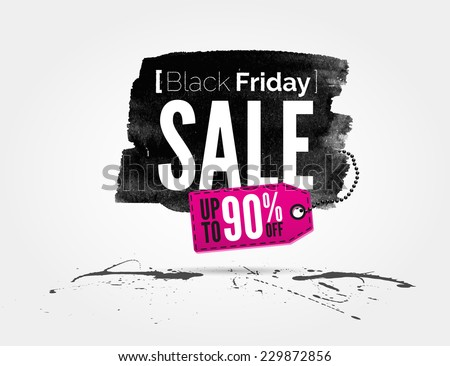 vector Black Friday watercolor banner with splashes of ink and shopping tag - stock vector