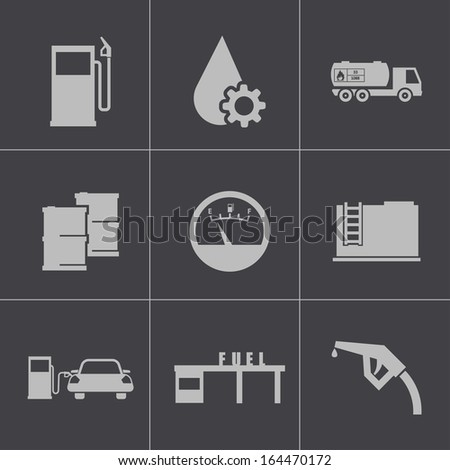 Vector black gas station icons set - stock vector