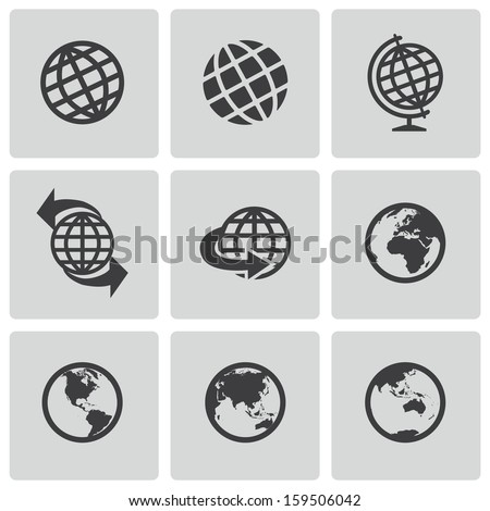 Vector black globe icons set - stock vector