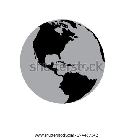 Vector black globe icons set - stock vector