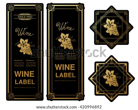 Vector black golden wine labels with grapes on white background. Rectangle and star frames on wine bottle. Decorative stickers.