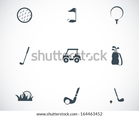 Vector black golf icons set - stock vector