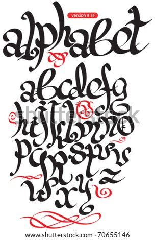 vector black gothic alphabet - stock vector
