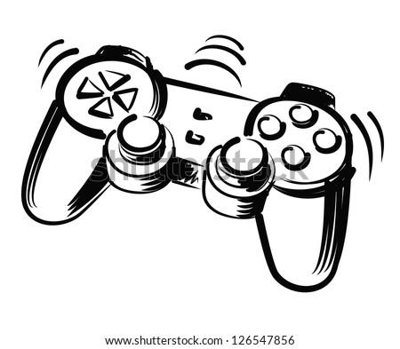 vector black hand draw illustration of joystick - stock vector
