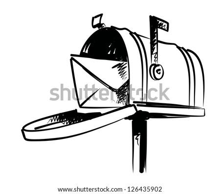 vector black hand draw illustration of mailbox - stock vector