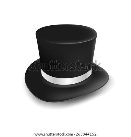 vector black hat cylinder - stock vector