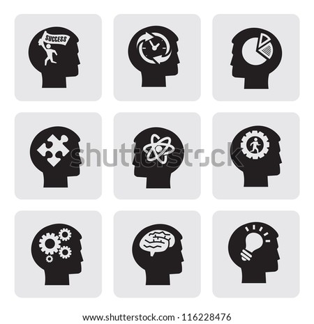 vector black head icons set on gray - stock vector