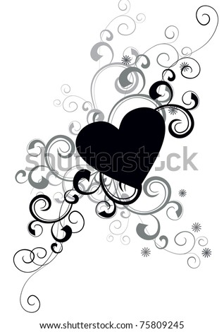 vector black heart silhouette with decorative flourishes isolated on white background - stock vector