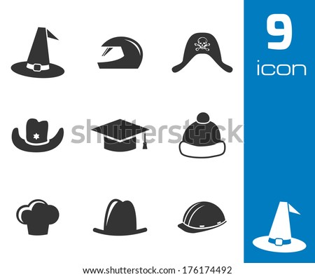 Vector black helmet and hat icons set on white background - stock vector