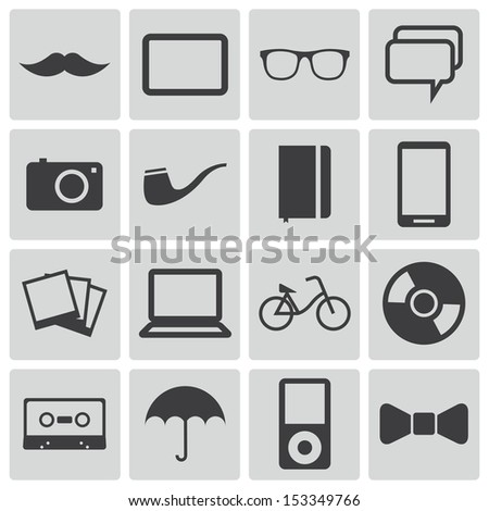 Vector black  hipster icons set - stock vector
