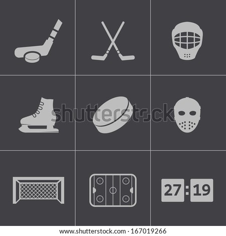 Vector black hockey icons set - stock vector