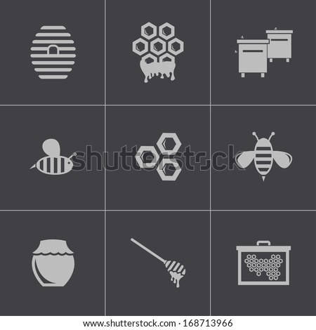 Vector black honey icons set - stock vector