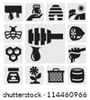 vector black honey icons set on gray - stock vector