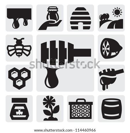 vector black honey icons set on gray - stock vector