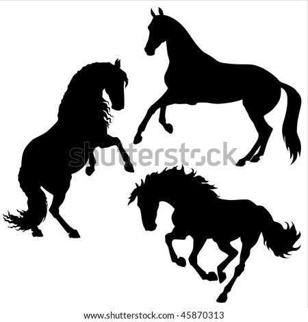 vector black horses - stock vector