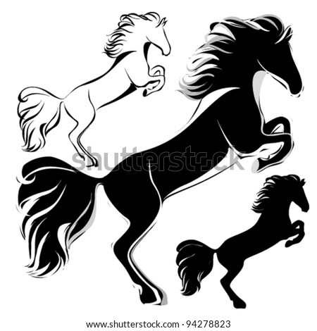 Vector black horses isolated on white. - stock vector