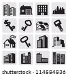 vector black hous icons set on gray - stock photo
