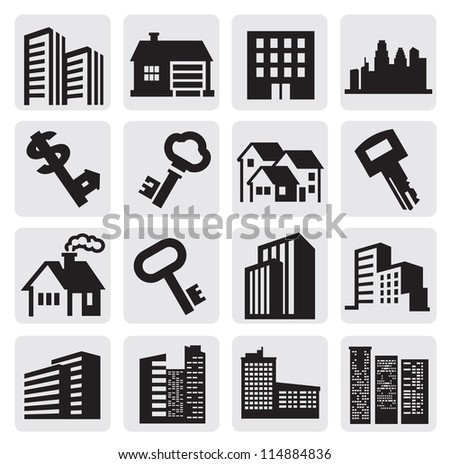 vector black hous icons set on gray - stock vector