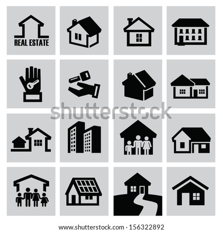 vector black house icons set on gray