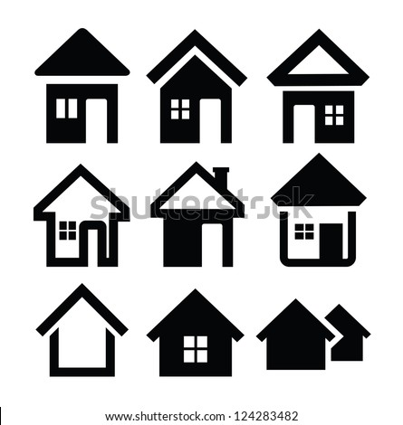 White House Logo Vector Vector Black House Icons Set