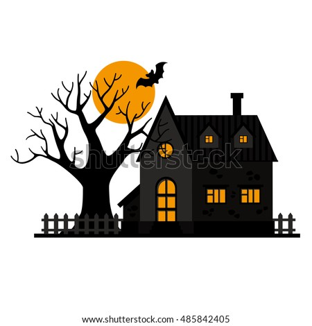 Vector Black House Fence Tree Orange Stock Vector Royalty