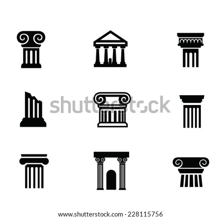 vector black illustration of column icon on white - stock vector