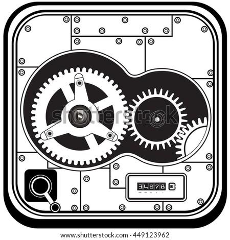 Vector black illustration of gears inside safe box mechanism. - stock vector