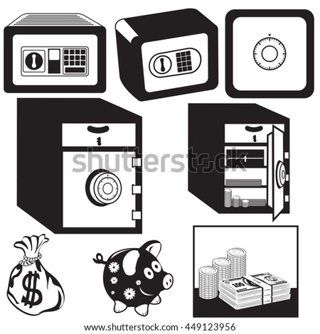 Vector black illustration of safe box different icons. - stock vector