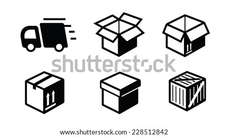 vector black illustration of shipping icon on white - stock vector