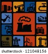 vector black industry icons set on color background - stock vector