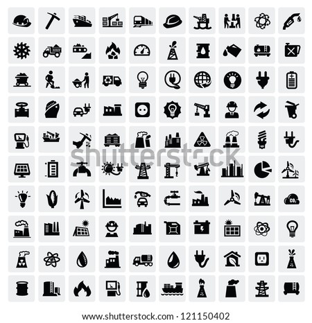 vector black industry icons set on gray - stock vector