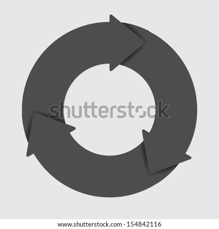 Vector black life cycle diagram. 3 Steps. - stock vector