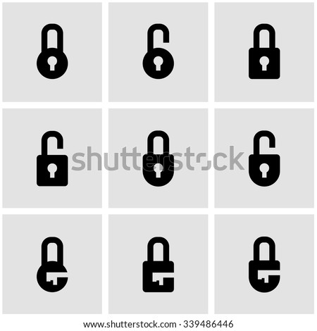 Vector black locks icon set. - stock vector
