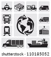 vector black logistic & shipping icon set - stock photo