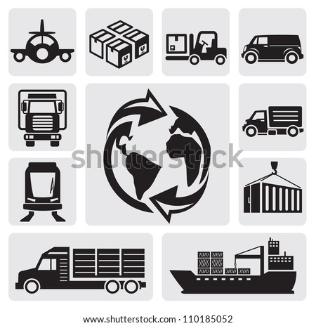 vector black logistic & shipping icon set - stock vector