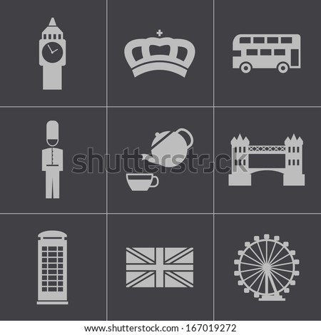 Vector black london icons set - stock vector