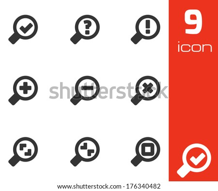 Vector black magnifying glass icons set on white background - stock vector
