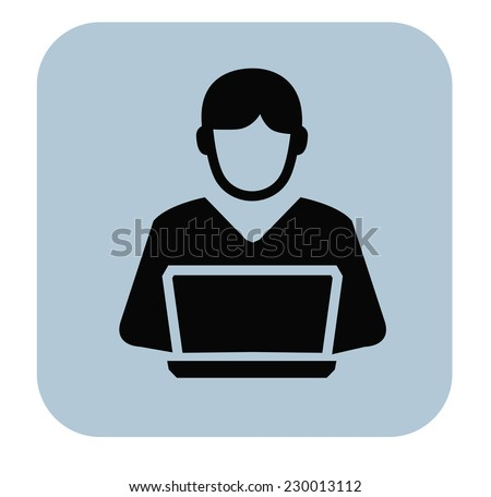 vector black man and pc icon on white background - stock vector
