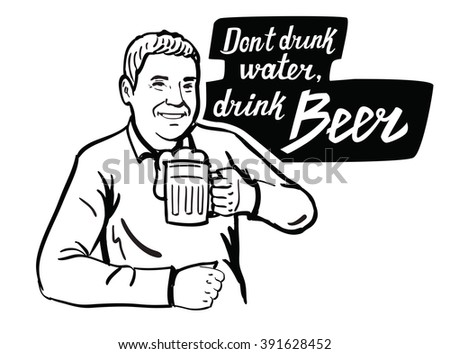 vector black man with beer icon on white background
