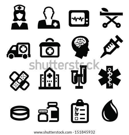 vector black medical icon set on white - stock vector
